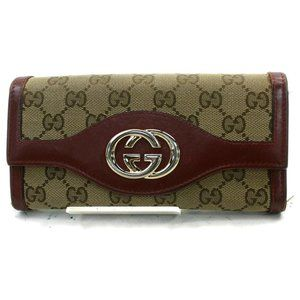 Auth Gucci Long Wallet Bordeaux Canvas #7411G56